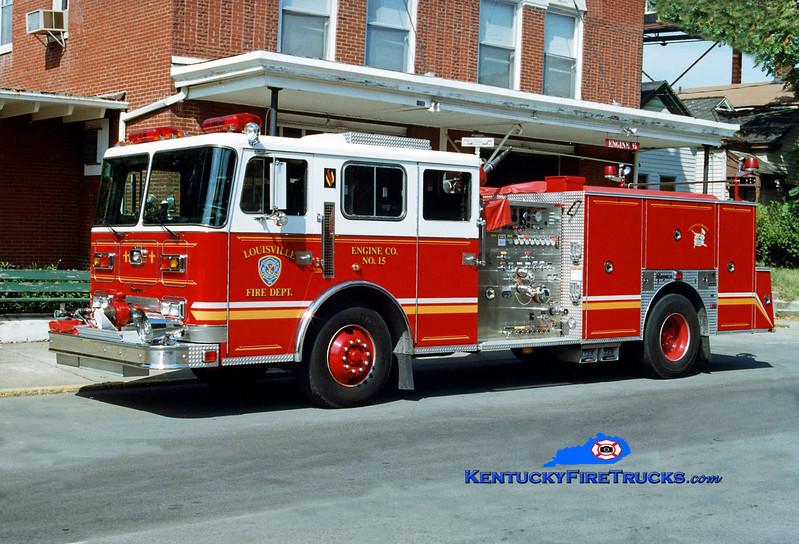 <center> RETIRED <br> Louisville Engine 15 <br> 1997 Seagrave JB 1500/500 <br> Kent Parrish photo <br> </center>