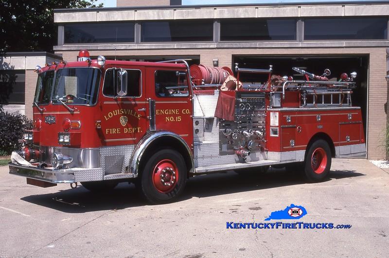 <center> RETIRED <br> Louisville  Engine 15 <br> x-Engine 5 <br> 1980 Pirsch 1500/300 <br> Greg Stapleton photo <br> </center>