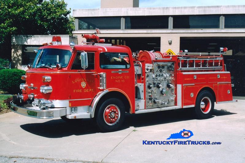 <center> RETIRED <br> Louisville  Engine 16 <br> 1981 American LaFrance Century 1500/300 <br> Greg Stapleton photo <br> </center>