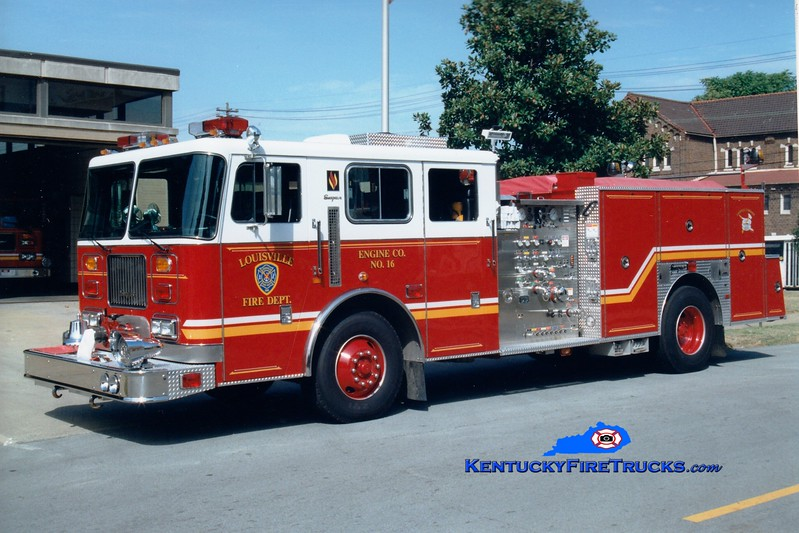 <center> Louisville  Engine 16 <br> 1998 Seagrave JB 1500/500 <br> Greg Stapleton photo <br> </center>