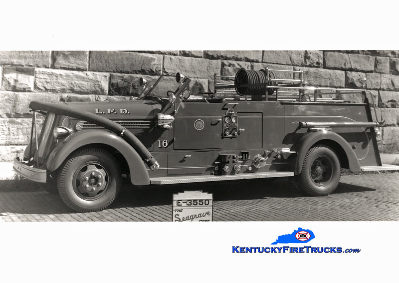 <center> RETIRED <br> Louisville  Engine 16 <br> 1949 Seagrave 750/200 <br> Kent Parrish collection <br> </center>