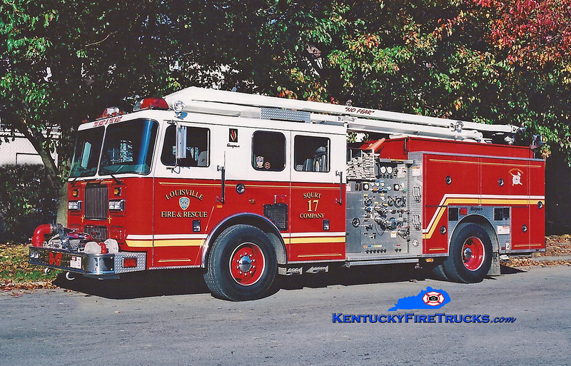 <center> Louisville  Squrt 17 <br> 1999 Seagrave Marauder 1500/500/54' Squrt  <br> Kent Parrish photo <br> </center>