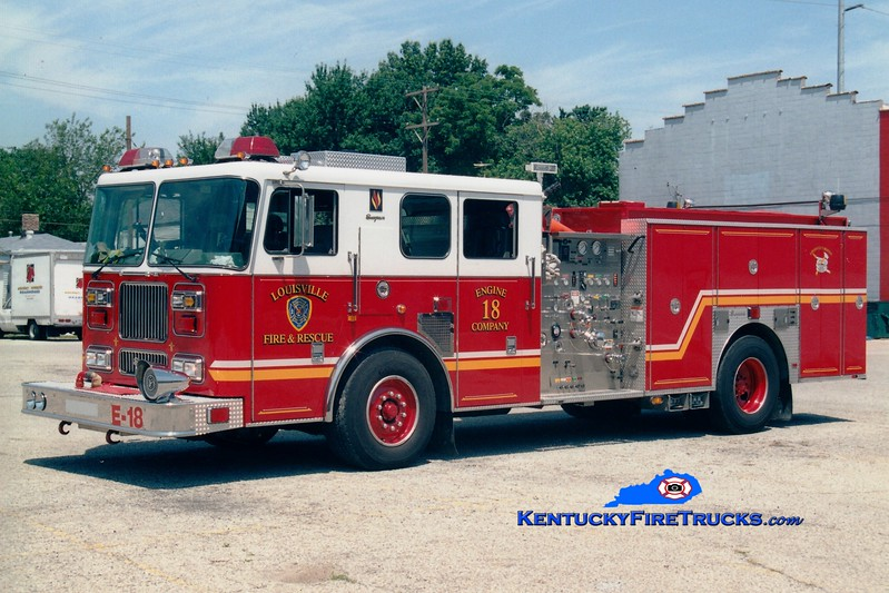 <center> Louisville  Engine 18 <br> 2000 Seagrave Marauder 1500/500 <br> Greg Stapleton photo <br> </center>