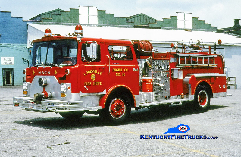 <center> RETIRED <br> Louisville  Engine 18 <br> 1971 Mack CF 1000/300<br> Greg Stapleton photo <br> </center>