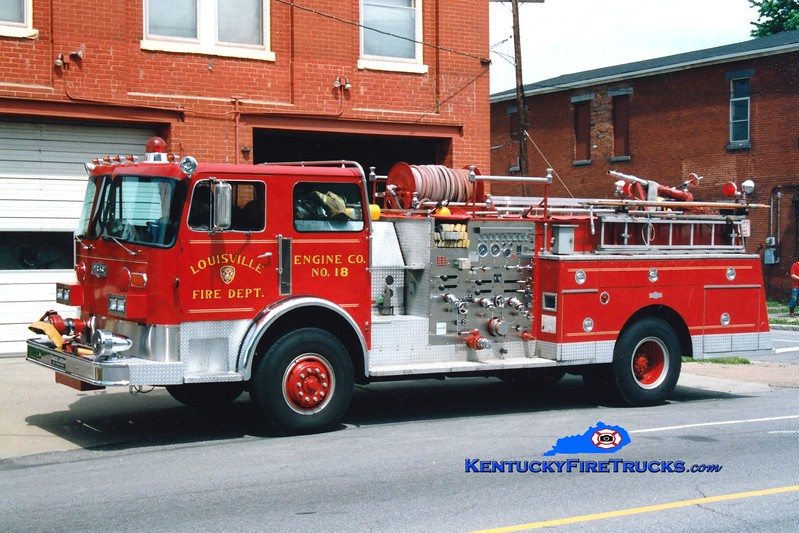 <center> RETIRED <br> Louisville  Engine 18 <br> x-Engine 17 <br> 1980 Pirsch 1500/300<br> Greg Stapleton photo <br> </center>