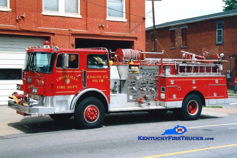 <center> RETIRED <br> Louisville  Engine 18 <br> x-Engine 17 <br> 1980 Pirsch 1500/300<br> Greg Stapleton photo <br> </center>