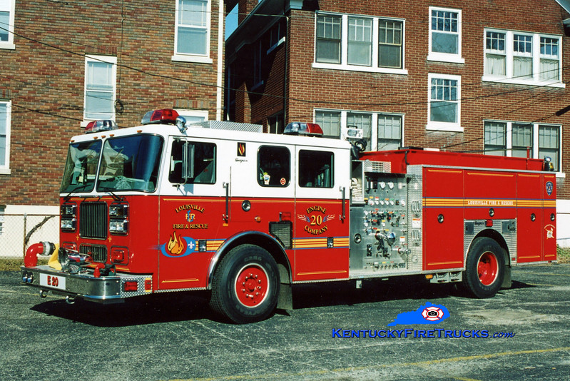 <center> Reassigned to Engine 5 <br> Louisville  Engine 20 <br> 2003 Seagrave Marauder 1500/500/20  <br> Kent Parrish photo </center>