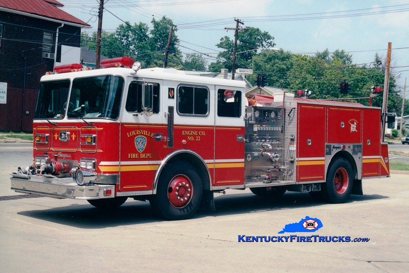 <center> Auxiliary Engine <br> Louisville  Engine 22 <br> 1995 Seagrave JB 1500/500 <br> Greg Stapleton photo </center>