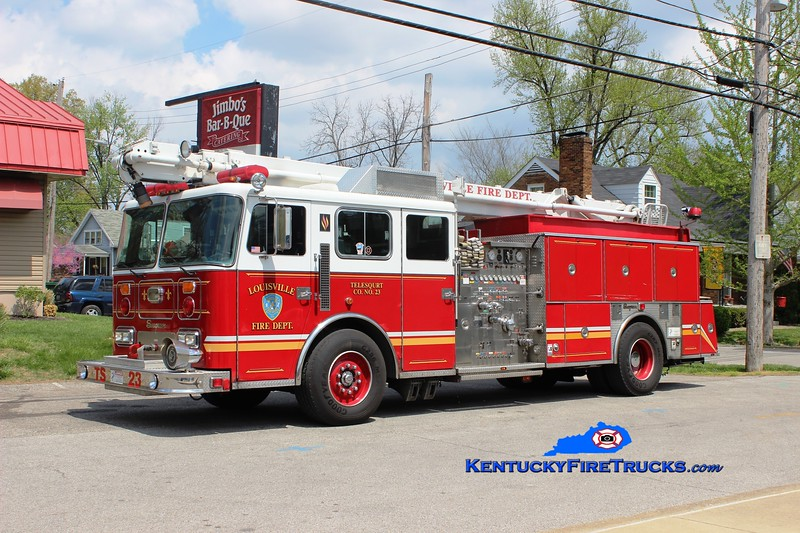 Auxiliary Engine 120 <br /> Louisville Telesqurt 23 <br /> 1993 Seagrave JB 1500/500/65' TeleSqurt <br /> *Ladder removed from boom<br /> Kent Parrish collection