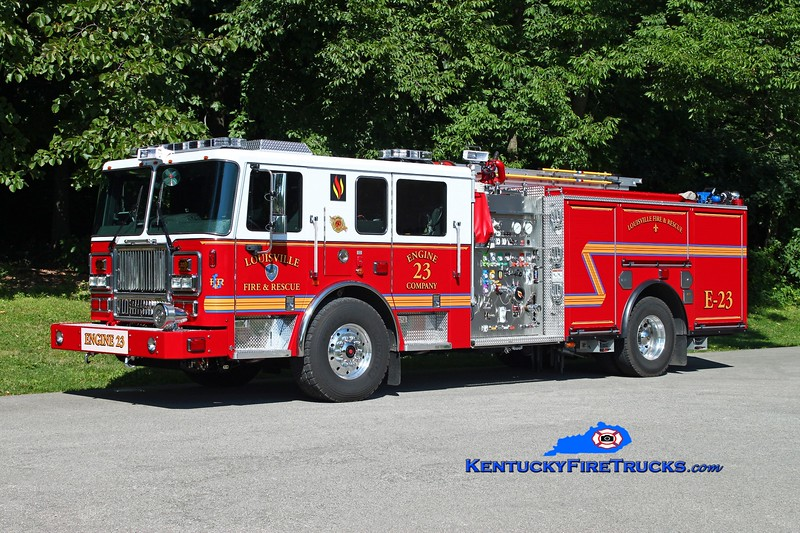 <center> Louisville  Engine 23 <br> 2014 Seagrave Marauder II 2000/500/20 <br> Kent Parrish photo </center>