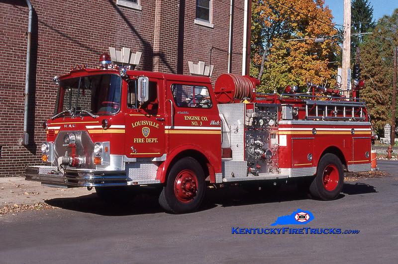 RETIRED <br /> Louisville Engine 3<br /> 1976 Mack CF 1250/300<br /> Kent Parrish collection