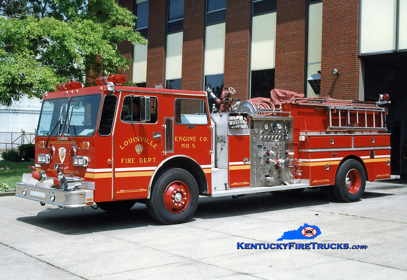 <center> RETIRED <br> Louisville  Engine 5 <br> x-Engine 22 and 15 <br> 1984 Duplex D-260/Grumman 1250/700/300 <br> Greg Stapleton photo </center>