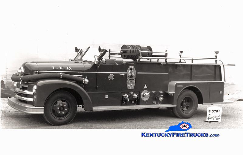 <center> RETIRED <br> Louisville  Engine 6 <br> 1953 Seagrave 750/200 <br> Kent Parrish collection </center>