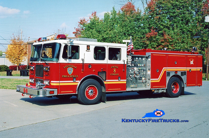 <center> Reassigned to Engine 4 <br> Louisville  Engine 8 <br> 2000 Seagrave Marauder 1500/500 <br> Kent Parrish photo </center>