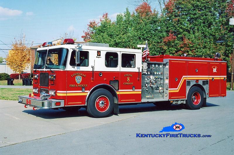 <center> Reassigned to Engine 4 <br> Louisville  Engine 8 <br> 2000 Seagrave Marauder 1500/500 <br> Kent Parrish photo </center>
