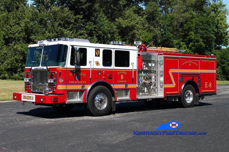 <center> Louisville  Engine 8 <br> 2014 Seagrave Marauder II 2000/500/20 <br> Kent Parrish photo </center>