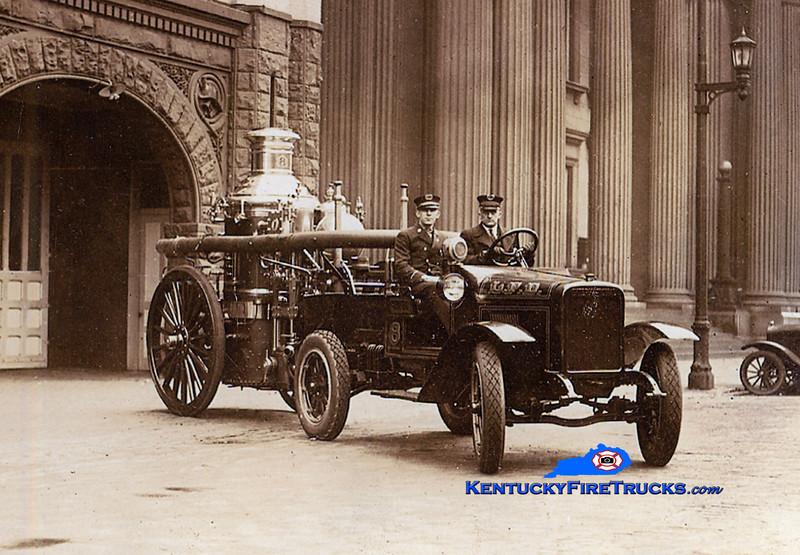 <center> RETIRED <br> Louisville  Engine 8 <br> 1925 International Model S/1906 Ahrens steamer <br> Kent Parrish collection <br> </center>