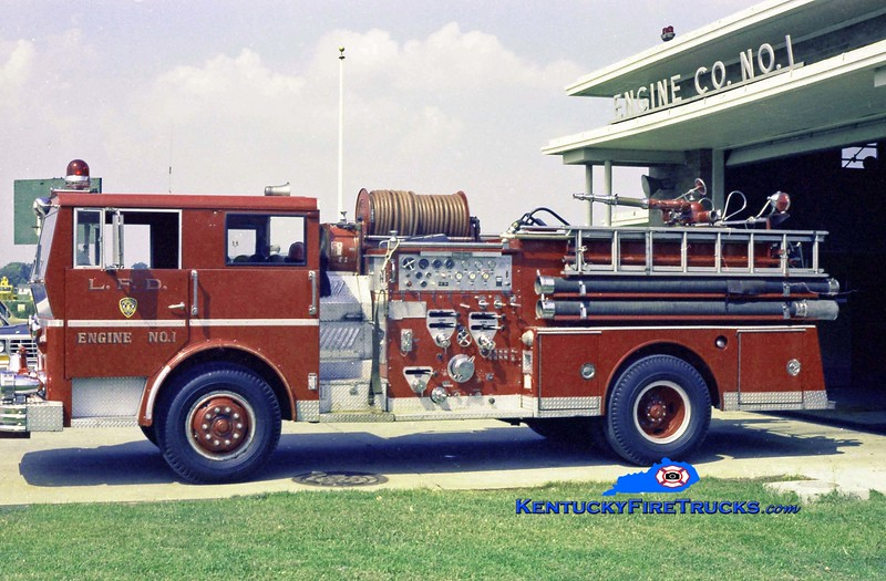 <center> RETIRED <br> Louisville  Engine 1 <br> 1967 Ward LaFrance 1250/500/55 <br> Kent Parrish collection </center>