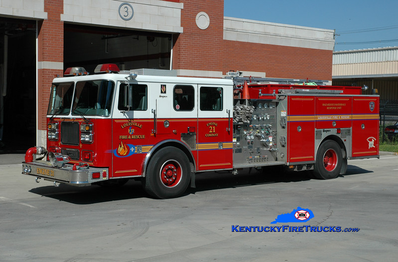 <center> Louisville  Engine 21 <br> x-Engine 5 <br> 2002 Seagrave Marauder 2000/500/25A/200B/Hazmat <br> Greg Stapleton photo </center>