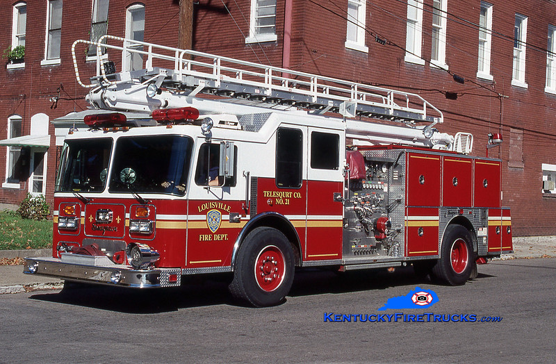 Reassigned to Telesqurt 20 <br /> Louisville Telesqurt 21 <br /> 1992 Seagrave LB 1500/500/50' TeleSqurt <br /> Kent Parrish collection