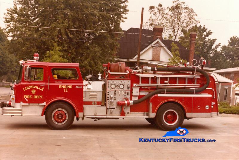 <center> RETIRED <br> Louisville  Engine 11 <br> 1971 Mack CF 1000/300 <br> Kent Parrish collection <br> </center>