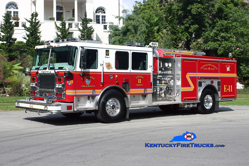 <center> Louisville  Engine 11 <br> 2009 Seagrave Marauder II 2000/500/20 <br> Kent Parrish photo <br> </center>