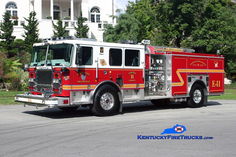 <center> Louisville  Engine 11 <br> 2009 Seagrave Marauder II 2000/500/20 <br> Kent Parrish photo <br> </center>