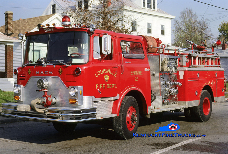<center> RETIRED <BR> Louisville  Engine 2 <br> 1976 Mack CF 1500/300 <br> Kent Parrish collection </center>
