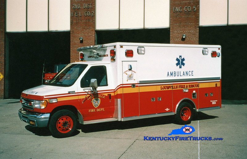 RETIRED <br /> Louisville Med 5<br /> 2000 Ford F-450/Lifeline<br /> The LFD had an EMS Bureau from 1995 to 2005<br /> Kent Parrish photo