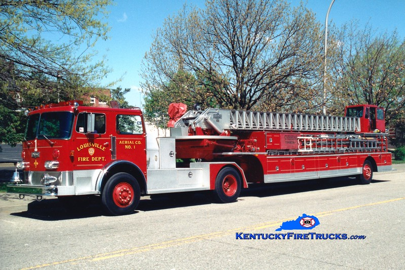<center> RETIRED <Br> Louisville  Truck 1 <br> 1983 Pirsch 100'  <br> Greg Stapleton photo </center>
