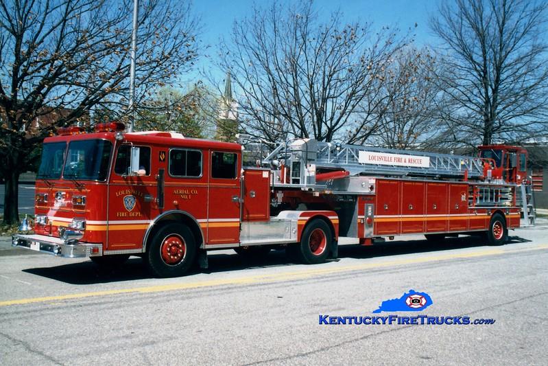 <center> Auxiliary Truck 101 <br> Louisville  Truck 1 <br> 1995 Seagrave Marauder II 100'  <br> Greg Stapleton photo </center>