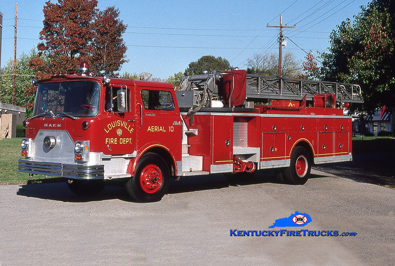 RETIRED <br /> Louisville Truck 10 <br /> 1977 Mack CF/Hamerly/Maxim 85' <br /> Kent Parrish collection