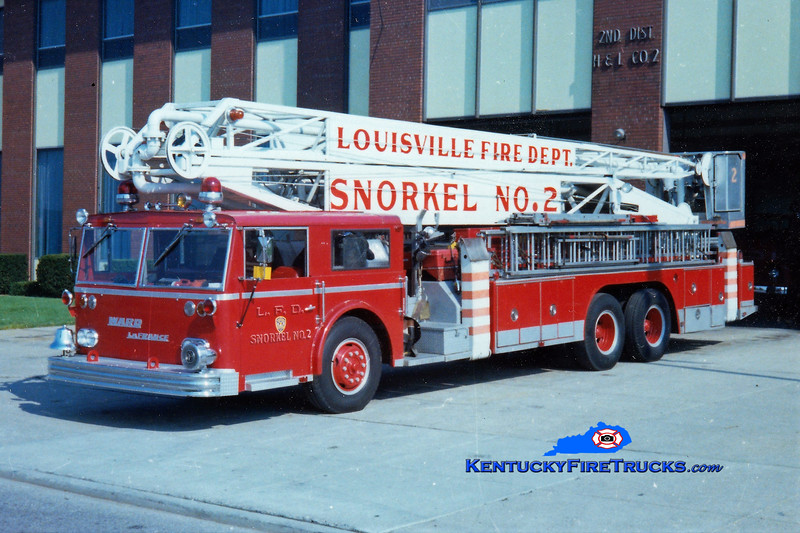 RETIRED <br /> Louisville Snorkel 2 <br /> *Delivered lettered as Snorkel 1, but reassigned <br /> 1965 Ward LaFrance 70' Hi-Ranger <br /> Kent Parrish collection