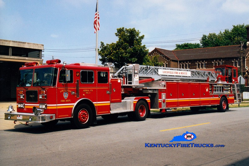 <center> RETIRED <br> Louisville  Truck 3 <br> 1997 Seagrave JT 100'   <br> Greg Stapleton photo </center>