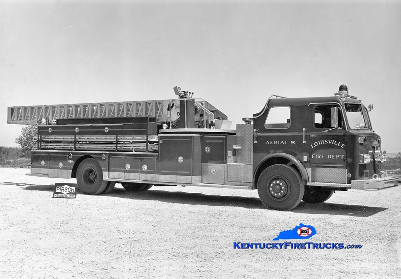 <center> RETIRED <br> Louisville  Truck 5 <br> 1974 Pirsch 85'  <br> *Delivery photo <br> Greg Stapleton collection </center>