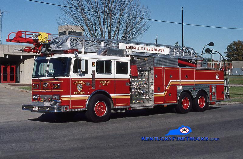 Auxiliary Truck 105 <br /> Louisville Quint 5 <br /> 1994 Seagrave JP 1500/400/100' <br /> Kent Parrish photo
