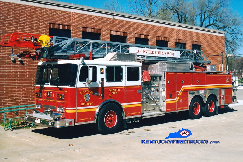 <center> RETIRED <br> Louisville  Quint 9 <br> 1996 Seagrave JP 1500/400/100'  <br> Greg Stapleton photo </center>