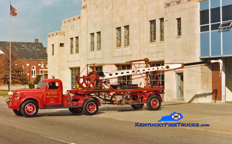 <center> Louisville  Water Tower 1 <br> 1942 Chevy/1892 Hale 55'  <br> Kent Parrish collection <br> </center>