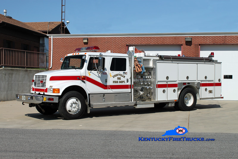 <center> RETIRED <br> Eddyville  Engine 501 <br> 1991 International 4900/E-One 1250/1000/30 <br> Kent Parrish photo </center>