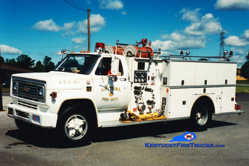 <center> RETIRED <br> Kuttawa  Engine 201 <br> 1973 Chevy C65/Boyer 750/750 <br> Greg Stapleton photo </center>