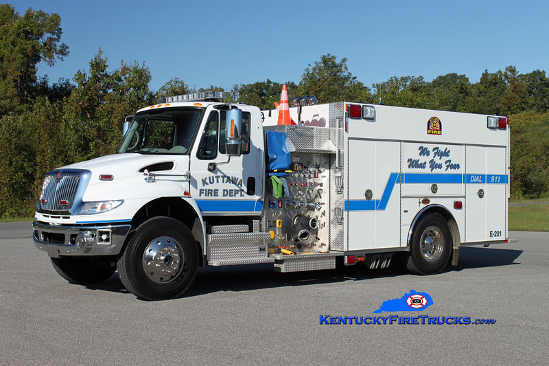 <center> Kuttawa  Engine 201 <br> 2008 International 4400/KME 1250/1000/20 <br> Kent Parrish photo </center>