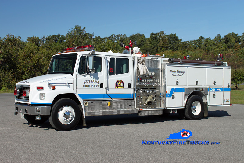 <center> Kuttawa  Engine 202 <br> 1996 Freightliner FL80/E-One 1250/1000/20 <br> Kent Parrish photo </center>