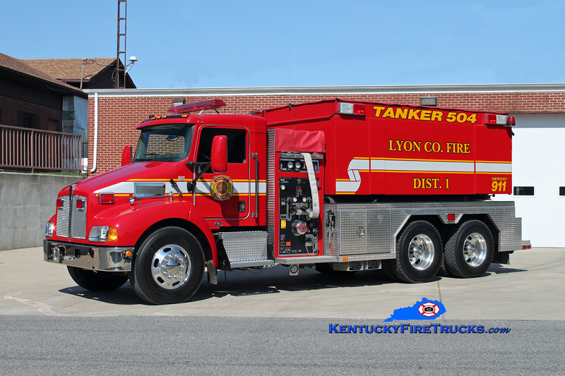 <center> Lyon County Fire District 1  Tanker 504 <br> 2007 Kenworth T-300/Fouts Bros 1250/3000 <br> Kent Parrish photo </center>