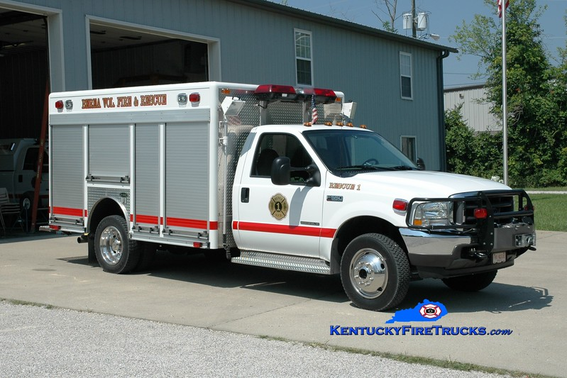 <center> Berea Vol Fire & Rescue Squad  Rescue 1 <br> 2002 Ford F-550 4x4/E-One/Superior <br> Greg Stapleton photo </center>