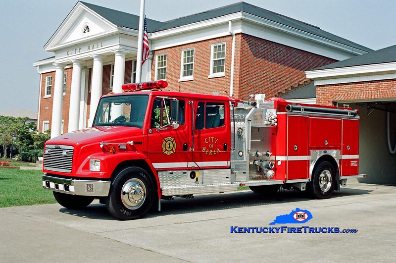 <center> City of Berea Engine 1 <br> 2002 Freightliner FL80/E-One 1250/1000 <br> Kent Parrish photo </center>