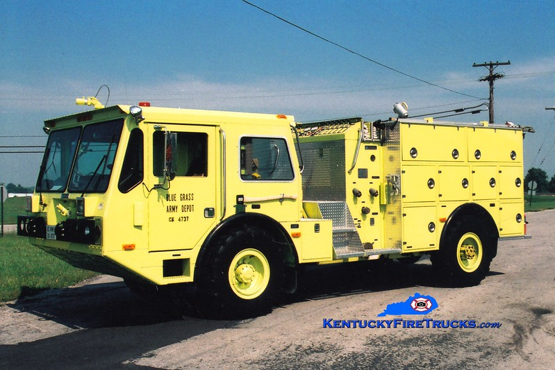 <center> RETIRED <br> Bluegrass Army Depot  Engine 1 <br> 1989 Amertek CFRV 4x4 1000/660/72  <br> Greg Stapleton photo </center>