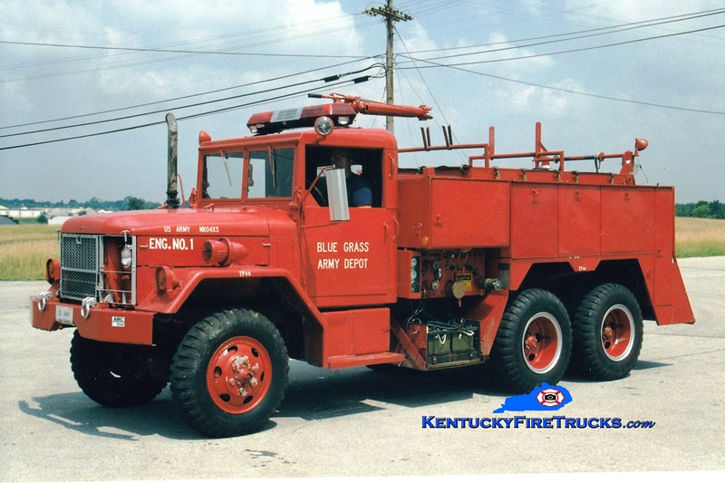 <center> RETIRED <br> Bluegrass Army Depot  Engine 1 <br> 1972 AM General 530-C 6x6/American Air Filter 750/400/60 <br> Greg Stapleton photo </center>