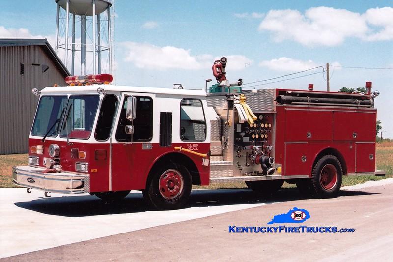 <center> RETIRED <br> x-Fort Knox, KY <br> Bluegrass Army Depot  Engine 3 <br> 1986 E-One Hurricane 1250/500/50 <br> Greg Stapleton photo </center>