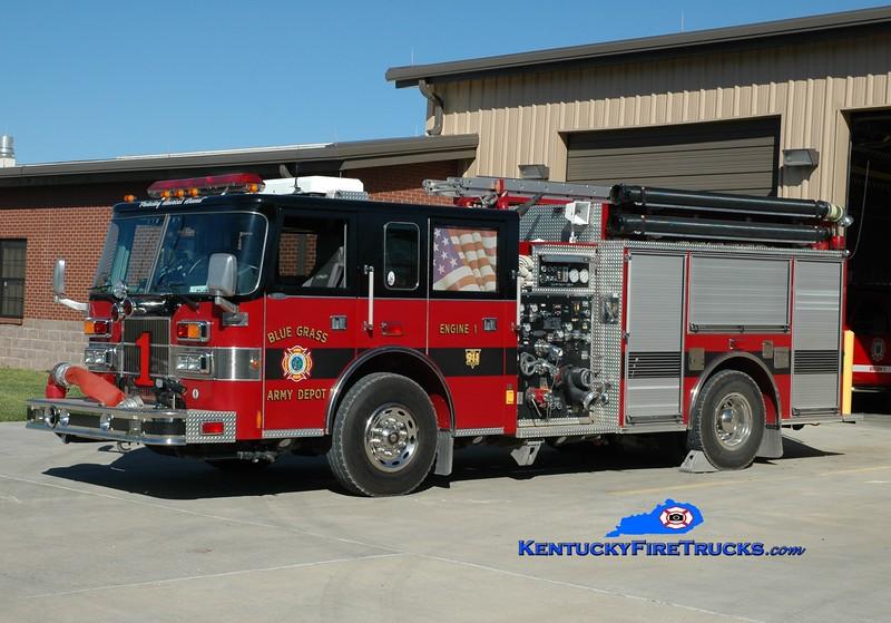 <center> Bluegrass Army Depot  Engine 1 <br> 1999 Pierce Saber 1250/550/200F <br> Greg Stapleton photo </center>