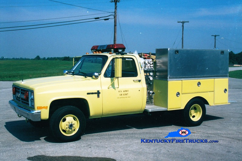 <center> RETIRED <br> Bluegrass Army Depot  Engine 2 <br> 1987 Chevy/Car-Mar/KME 250/250 <br> Greg Stapleton photo </center>